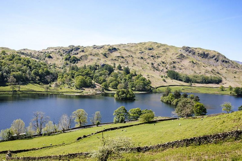 View of Grasmere water in the Lake District